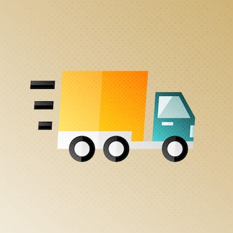 Fast shipping and delivery halftone stylized illustration. flat sign with halftone texture