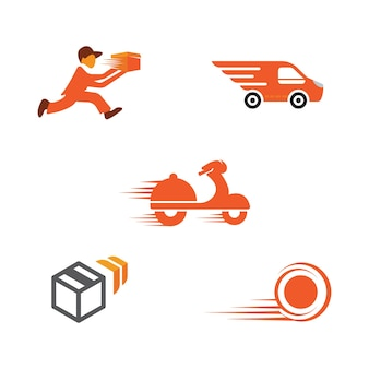 Fast shipping delivery truck flat vector icon