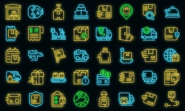 Набор иконок быстрой доставки наброски вектор. автомобильный бизнес. грузовой курьер