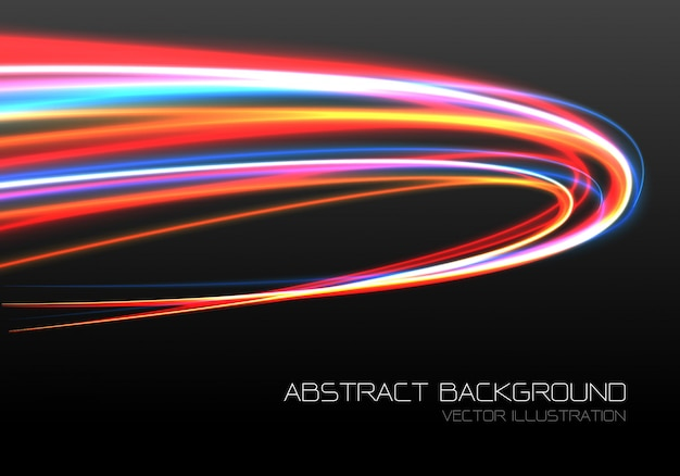 Fast speed curve motion black background.