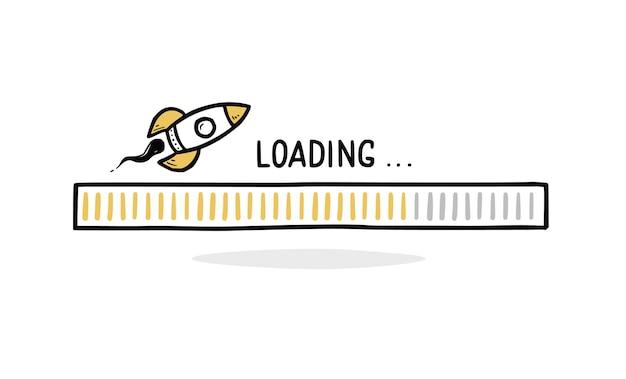 ロケットで高速ローディングバー落書き。スピードプログレスバー、高速インターネットコンセプト。手描きの線スケッチスタイル。孤立したベクトル図。