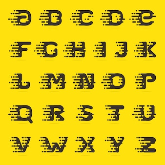 Fast speed taxi service english alphabet letters.