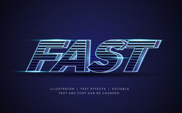 Быстрая скорость с синим светом 3d текстовый эффект