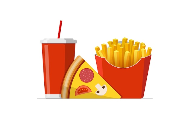 Fast sreet food takeaway lunch meal set pizza slice with french fries pack and soft drink soda cup