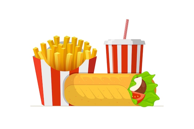 Fast sreet food takeaway lunch meal set shawarma doner kebab roll with french fries pack and