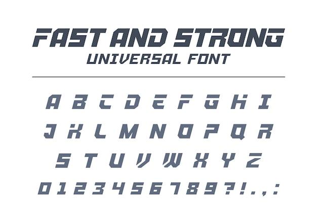 빠르고 강력한 고속 범용 글꼴. 스포츠, 미래, 기술, 미래 알파벳. 문자, 군용 번호, 전기 자동차 경주 로고. 현대적인 미니멀리즘 서체