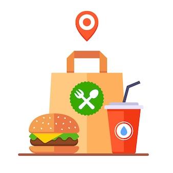 ファーストテイクアウトの食べ物。配達のための紙袋。フラットの図。