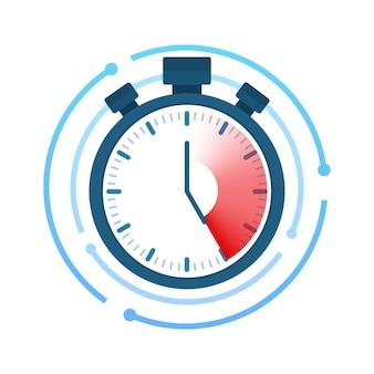 速い時間。ストップウォッチアイコン。時間管理。ベクトルストックイラスト