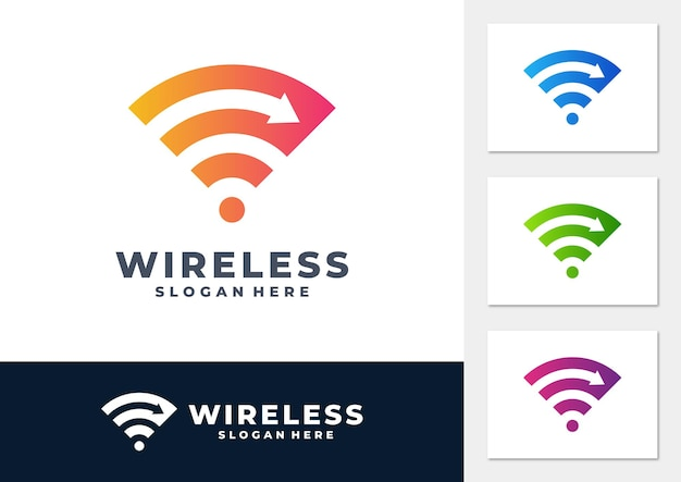 Fast wireless signal gradient logo vector