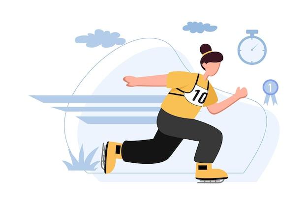 Быстрая женщина конькобежный спорт спортсмен иллюстрация