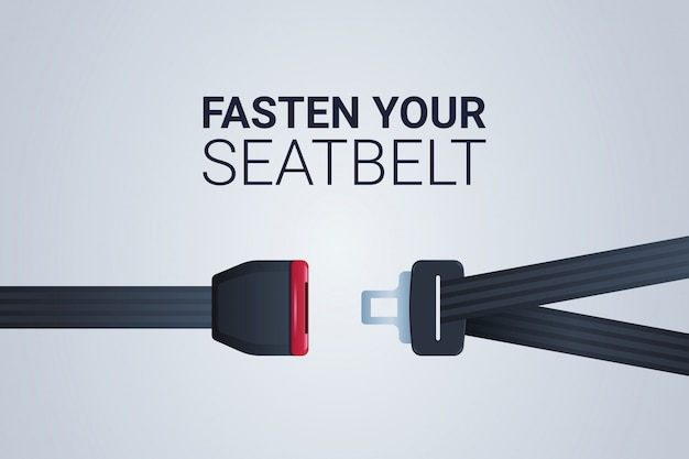 Fasten your seat belt sign safe trip safety first concept horizontal flat