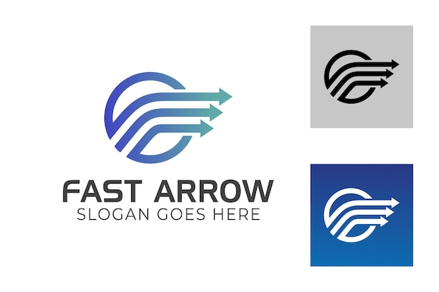 Faster express with arrow symbol for business delivery logistics logo template
