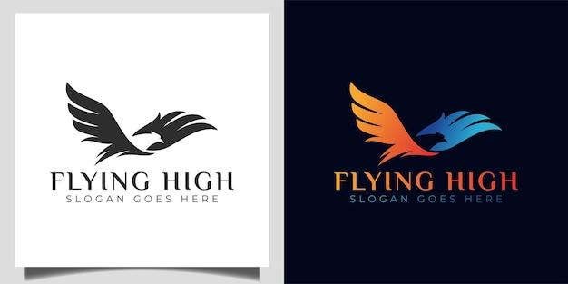 Faster flying high bird eagle, falcon, phoenix modern silhouette logo for brand identity