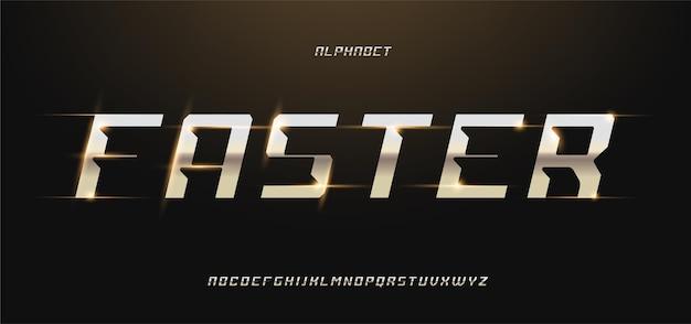 「より速い」モダンな光沢のあるゴールドのアルファベット。未来的なタイポグラフィフォント