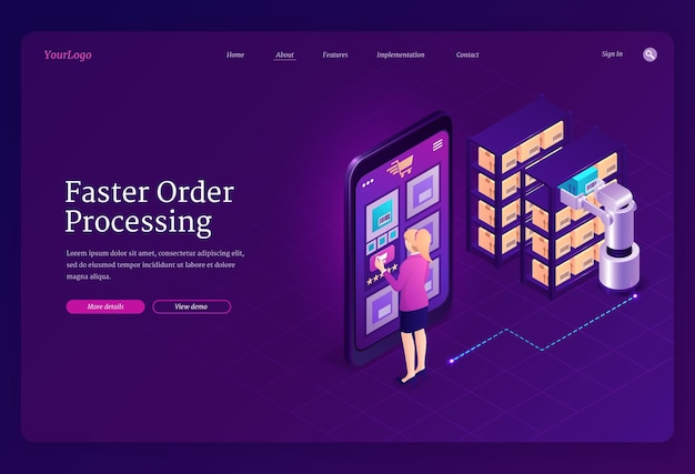 Faster order processing landing page