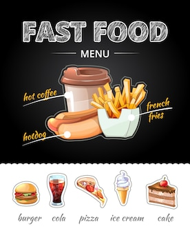 Fastfood advertising on chalkboard. lunch cola and french fries, pizza and cup coffee, ice cream and cake.