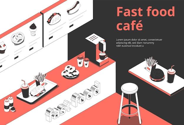 Composizione isometrica interna del caffè di fastfood con le ciambelle delle patate fritte del vassoio di ordine del contatore della scheda del menu digitale