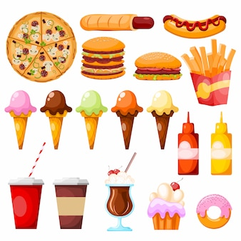 Fastfood items on white