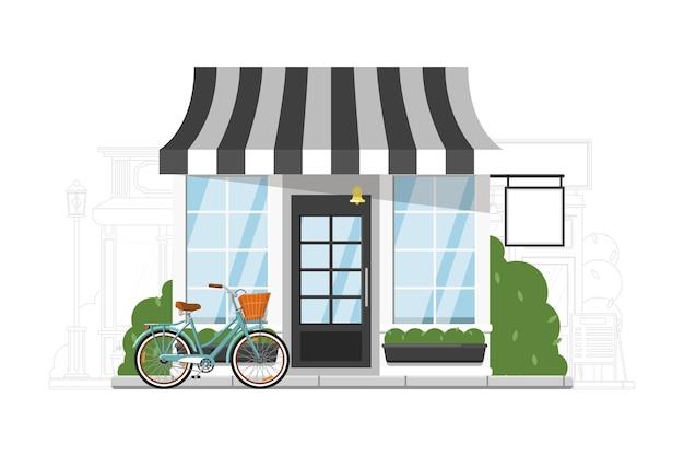 ファストフードレストラン。小さなファーストフードのレストラン、小売店、またはブティックショップの街並みのシルエットの背景に外観の建物。商業物件イラスト