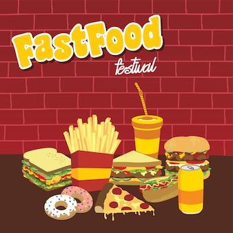 Fastfood snacks theme set
