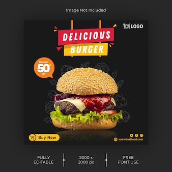 Fastfood social media post template