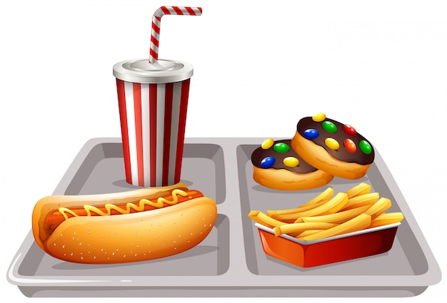 Fastfood and soft drink on tray