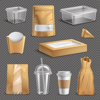 Fastfood takeaway packaging realistic set