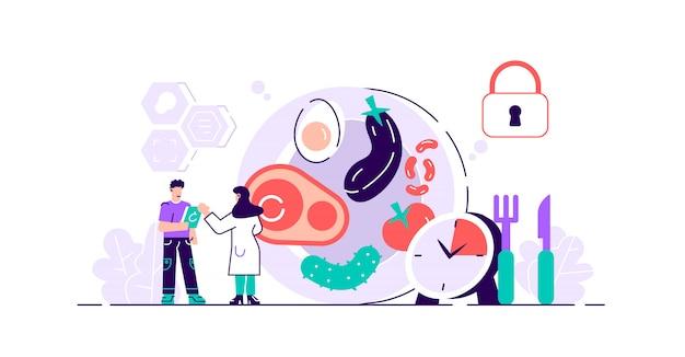 금식 그림. 편평한 작은 신진 대사 다이어트 시간 사람 개념. 체중 감량과 긍정적 인 효과를위한 현대적이고 건강한 방법. 일일 식사 일정 및 케토 제닉 상태 유지 계획.