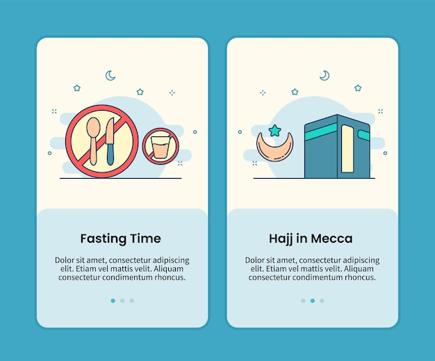 Fasting time and hajj in mecca mobile pages set