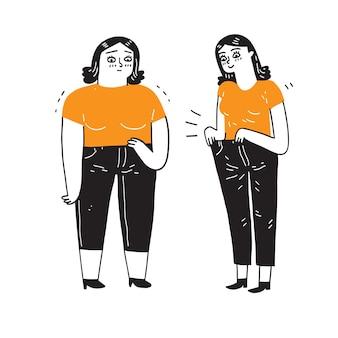 減量前後の太くてスリムな女性。フラットモダンなトレンディなスタイル。ベクトルイラスト文字アイコン。太くて細い女の子。減量の概念。手描きのベクトル図