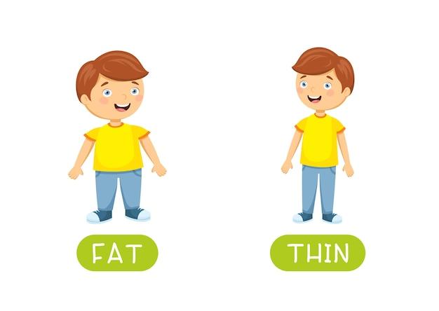 Fatとthinの反意語フラッシュカード 無料ベクター