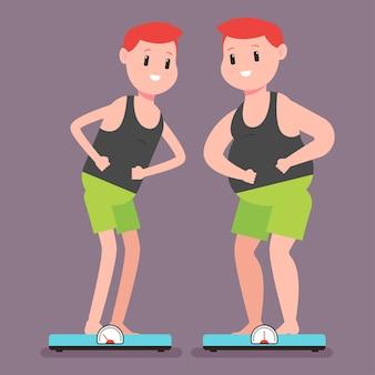 体重計の上に立っている太くて細い男。背景に分離された漫画の男のキャラクター。健康的なライフスタイルとスポーツコンセプトイラスト。