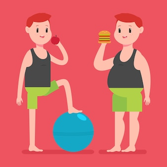 사과, 햄버거 및 피트니스 공을 가진 뚱뚱하고 얇은 남자