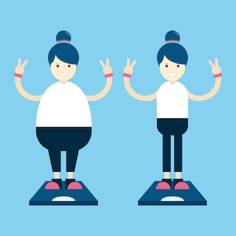 Fat and thin woman cartoon character on the weighing scales.