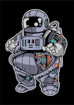 Fat astronaut robot cartoon character