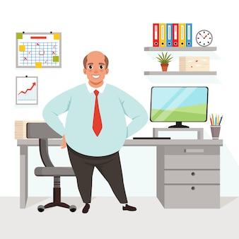 Толстый лысый мужчина в офисе