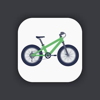 フラットスタイルのファットバイクアイコン、ファットタイヤと緑の自転車、ベクトル図