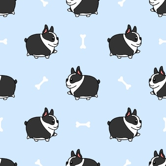 Fat boston terrier dog walking cartoon seamless pattern