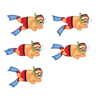 Fat boy diver cartoon animation sprite