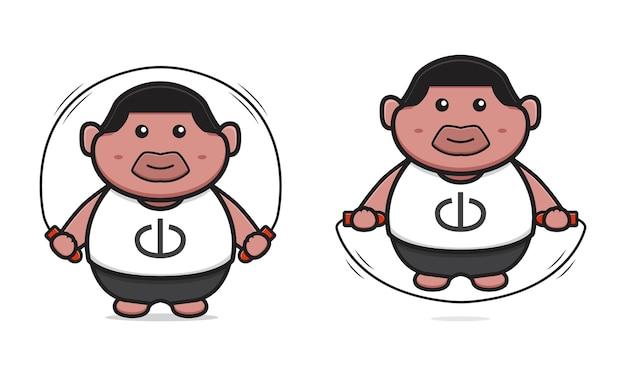 太った少年は漫画のアイコンのベクトル図をスキップします。孤立したフラット漫画スタイルをデザインする