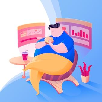 Fat boy eating hamburger character