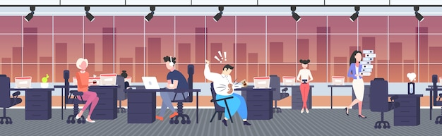 Fat businessman spilling coffee on shirt overweight man with stain on his clothes sitting on chair untidiness obesity concept modern office interior