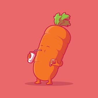 Жир морковь характер векторные иллюстрации еда фаст-фуд здоровая концепция дизайна
