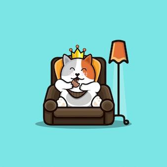 뚱뚱한 고양이 먹는 그림