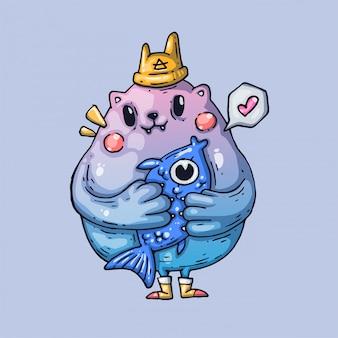 太った猫フィッシャーマンは大きな魚を手に持っています。クリエイティブイラスト。 webおよび印刷用の漫画アート。