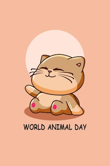 Толстый кот в иллюстрации шаржа всемирного дня животных
