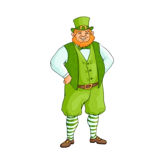 Fat, chubby irish man in traditional green clothes