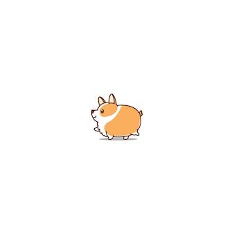 Fat corgi dog walking cartoon icon
