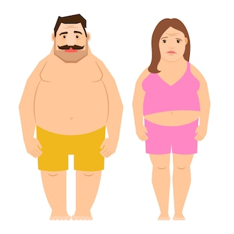 Fat exercising man and woman