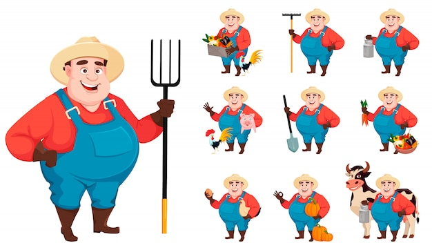 Fat farmer, agronomist, set of ten poses